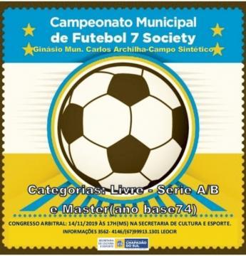 Campeonato Municipal de Futebol Society de Chapadão do Sul tem Congresso Técnico nesta quinta-feira, 14