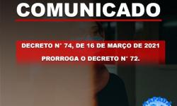 Prefeitura Municipal de Chapadão do Céu prorroga decreto n° 72