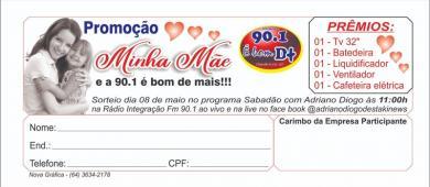 Rádio Integração FM 90.1 lança promoção dia das mães com 5 prêmios
