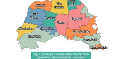 Aparecida de Goiânia define rodízio do funcionamento do comércio por região; veja regras