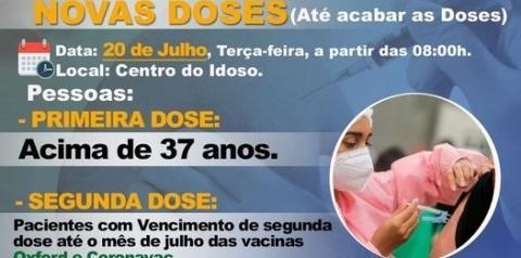 A Secretaria de Saúde Informa: na próxima Terça-feira (20 de julho), estaremos vacinando as pessoas com idade acima de 37 anos contra o covid-19.