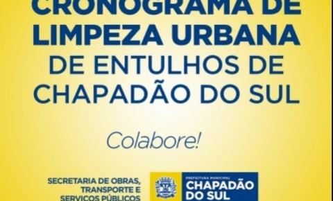 Confira o Cronograma de Limpeza Urbana semanal de Chapadão do Sul e Saiba quando descartar entulhos