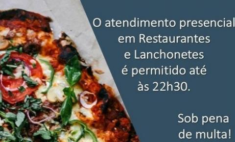 Atendimento presencial em restaurantes e lanchonetes até 22h30