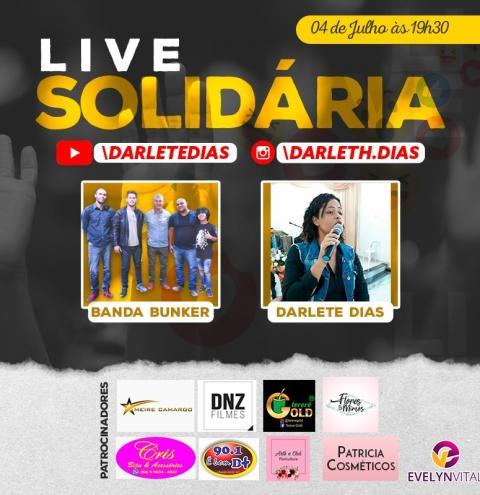 Vem aí Live solidária com a cantora Darlete Dias e banda Bunker dia 04 de julho