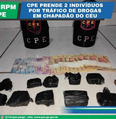 CPE  prende 2 indivíduos por tráfico de drogas em Chapadão do Céu